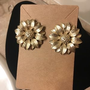 Clip On Gold Sunflower Earrings